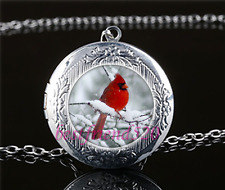 Snow Red bird Photo Cabochon Glass Tibet Silver Locket Pendant Necklace