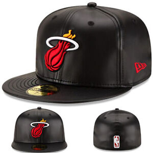 New Era Miami Heats Fitted Hat NBA Official Team Classic Black Faux Leather Cap