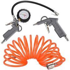 Kit Compressore Doppia Pistola Soffiaggio Aria Compressa Tubo 5mt Manometro 3pz