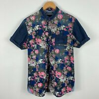 Copperstone Mens Button Up Shirt Large Multicoloured Floral Short Sleeve V-Neck