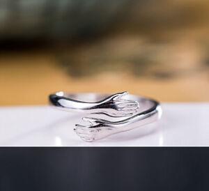 I04 Ring Umarmung Sterling Silber 925 Gr. 17 - 18 verstellbar