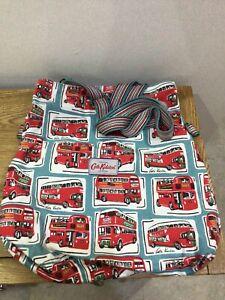 Cath Kidston London Buses /Newspaper Reversible Cotton Bag Adjustable Strap