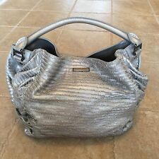 $2495 Burberry Prorsum Couture Large Metallic Silver Trench Fringe Leather Bag