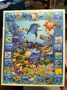 2018 WHITE MOUNTAIN 300 Piece Dolphins kingdom Jigsaw PUZZLE  E-Z Hold Large