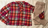 Gymboree Girl Size 14 Top Plaid Checks Super Skinny Jeans  MSRP $74.00 New Multi