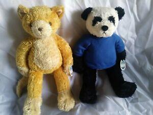 "NWT!  Qty. 2 Happy Tymes Plush Panda Bear and Cat Teddies To Go Animals 19"" tall"