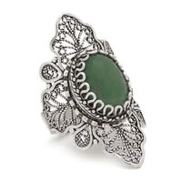 925 STERLING SILVER & GREEN AVENTURINE FILIGREE STATEMENT RING SIZE 8