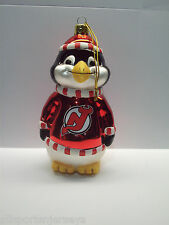 New Jersey Devils Blown Glass Penguin Christmas Tree Ornament New In Box
