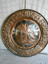 Large tin w/copper finish wall decor sailing ship, plate 23""