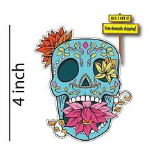 """Sugar Skull Day of the Dead 4"""" Blue with Flower in mouth Decal Sticker DOD1"""