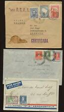 ARGENTINA 1930-47 AIRMAILS EUROPE 14 stamps on 5 COVERS