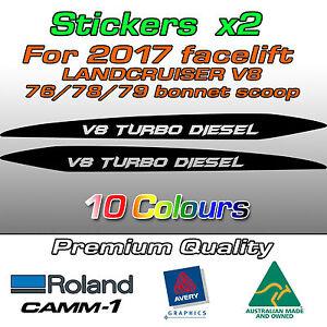 V8 TURBO DIESEL (Batman) Sticker for 2017- Landcruiser 76 70 78 79 bonnet scoop