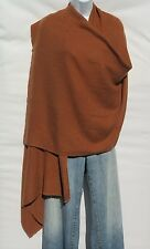 100% Cashmere Shawl/Wrap Hand Loomed Nepal Solid Copper 4 Ply Herringbone