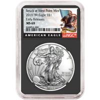 2019 (W) $1 American Silver Eagle NGC MS69 Black ER Label Retro Core