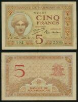 1937 Five Francs Banknote Bank of Madagascar Issue Pick Number 35 Good Very Fine