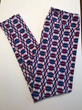Lularoe TC Leggings Geometric Pattern Blue Pink White
