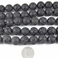 "Round Volcano Beads-Black Lava Rock 15"" Strand 12mm (32)"