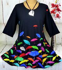 Naveed Tunika Bluse Kleid Lagenlook Longshirt Taschen A-Form Schwarz  5) 54 56
