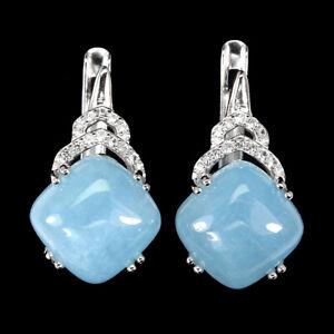 Unheated Cushion Blue Aquamarine 10mm Cz 925 Sterling Silver Earrings