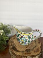 "Italian Deruta Roster Pitcher Art Pottery Italy Majolica Ceramic 5"" Tall"
