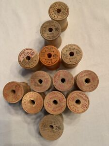 13 Belding Corticelli Large Wooden Spools, no thread, 215 - 275 yd size