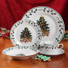 Holiday Tree Trimming 20-Piece Ceramic Dinnerware Set, Dishwasher Microwave Safe