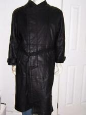 WILD SKINS GOTHIC MATRIX STEAMPUNK LONG BLACK LEATHER TRENCH COAT SIZE XS WOW