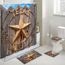 Texas Star Shower Curtain Toilet Cover Rug Mat Contour Rug Set