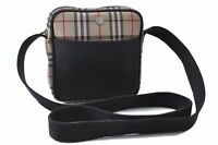 Burberrys Nova Check Pattern Shoulder Cross Bag Nylon Leather Beige Black C2000