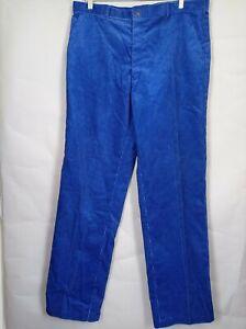 Vintage St Michael Mens Blue Corduroy Cord Trousers W38 L33