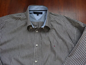 Tommy Hilfiger Mens Brown And White Striped Shirt XXL VGC!