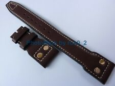 IWC BIG PILOT DARK BROWN LEATHER STRAP BAND With <GOLDEN> RIVETS 22mm X 18mm NEW