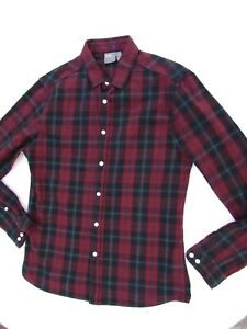 ASOS Men's Flannel Burgundy Plaid Button Down Long Sleeve Stretch Slim Shirt  M