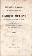 FIRENZE APPLAUSI POETICI AL MERITO INCOMPARABILE DEL PADRE ENRICO MELONI 1835