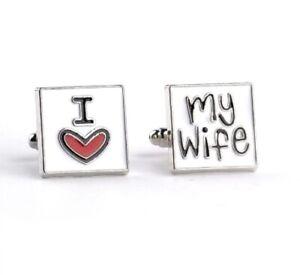 I LOVE MY WIFE Cufflinks Wedding Groom Mens Gift Cuff Link Novelty CF9