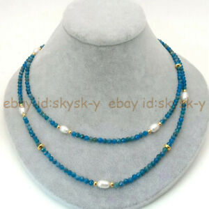 2 Rows 3mm Faceted Blue Apatite & 6-7mm White Rice Pearl Necklace 17-18'' AA