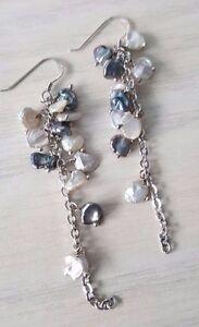 Freshwater Keshi pearl earrings 925 sterling silver hooks