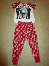 Girls red/white One Direction pyjamas with short sleeves  Size 7