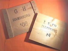 2 Vintage Holzplatten bedruckt, Fronten von alten Holzkisten, Hambourg(AMBU245)
