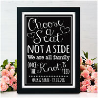 Personalised Choose A Seat Not A Side Wedding No Seating Plan Signs Guests Signs