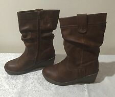 Rivers Size 38 Brown High Heel Block Wedge Zip Up Boots