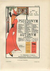 AUBREY BEARDSLEY Pseudonym Vintage Lithograph, Affiches Etrangeres, Paris 1897