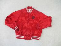 VINTAGE Pizza Hut Jacket Adult Large Red White Satin Coat Uniform Delivery Mens
