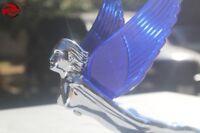 Blue Art Deco Flying Wing Godess Lighted Custom Hood Ornament Truck Hot Rat Rod
