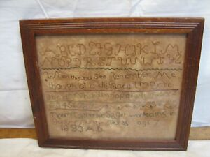 Antique 1883 Alphabet Cross Stitch Sampler Needle Point Folk Art Needlepoint TX