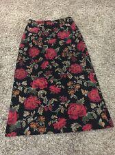 Briggs New York Size 8 Black & Red floral print Micro Fiber Career  Modest Skirt