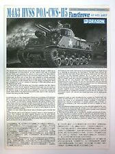 Dragon 1/35th Scale M4A3 HVSS Flamethrower Tank Direction for Kit No. 6807