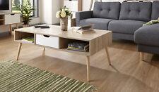 Designer Coffee Table 1 Drawer Occasional Table Oak Veneer Solid Wood Legs