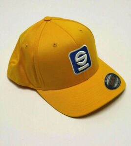 SPARCO Racing Hat FlexFit Yellow Fitted Cap Baseball Style Race Crew L-XL  NEW