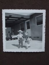 YOUNG BOY & GIRL WEARING TOY GUNS IN HOLSTERS Vtg 1958 PHOTO